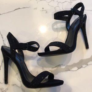 Zara Black heels with black stone detail